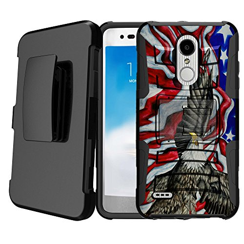 Untouchble   Compatible with LG Stylus 4, LG Stylo 4 Kickstand Case [Heavy Duty] Holster Case Combo with Dual Layer Case Built in Kickstand - Soaring Eagle Flag