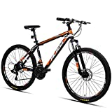 Hiland 26 Inch Mountain Bike Aluminum MTB Bicycle with 17 Inch Frame Kickstand Disc-Brake Suspension Fork Cycling Urban Commuter City Bicycle Black Orange