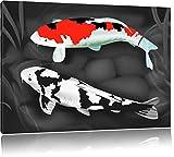 Dessiné carpes Koi noir / blanc Taille: 100x70 sur toile, énorme XXL Photos complètement encadrée avec civière, art...