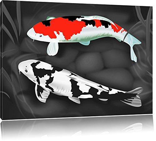 Gezeichnete Koi Karpfen schwarz/weiß Format: 60x40 auf Leinwand, XXL riesige Bilder fertig gerahmt mit Keilrahmen, Kunstdruck auf Wandbild mit Rahmen, günstiger als Gemälde oder Ölbild, kein Poster oder Plakat