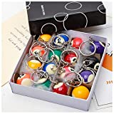 Kytrun 16 pcs/Set Mini Billiards Shaped Keyring Assorted Colorful Billiards Pool Small Ball Keychain Creative Hanging Decorations