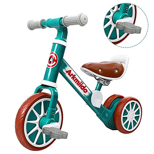 Arkmiido 2 in 1 Kids Balance Bike with Detachable Pedals, Toddler Trike/Tricycle, Toddlers Walking Bicycle for 2Years to 4 Years Old Boys and Girls Indoor Outdoor (Green)