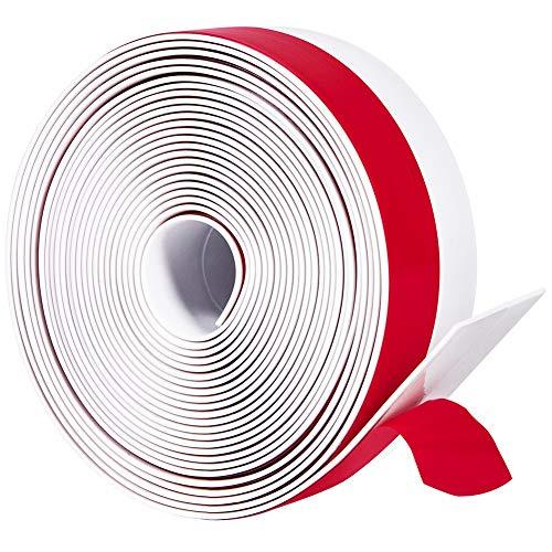 Silicone Door Sweep Draft Stopper 2 inch Width 20 Feet Length,Seal Insulation for Door Under Bottom, Gap, Side, Glass Shower Door, Sliding Door,White