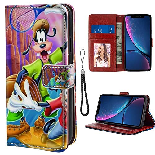 Leather Wallet Case for iPhone Xr 6.1 Inch Characters from Goofy Movie Walt Disney Pictures American Animated Musical Comedy Film HD Wallpapers Series