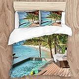 DK Star Bedding Juego de Funda de Edredón - Palawan Island Resort Filipinas Honse Palm Piscina en la Playa Impresiones - Microfibra Funda de Nórdico y Fundas de Almohada - (Cama 220 x 240cm)