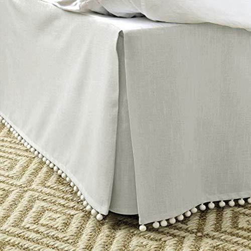 MUZIDP Bettrock,Hotel elastischen Staub einfach passen Falten lichtbeständige ausgestattete Volant-Hellgrau 200x200cm(79x79inch)