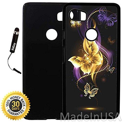 Custom Google Pixel 2XL Case (Black Purple Butterfly) Plastic Black Cover Ultra Slim | Lightweight | Includes Stylus Pen by Innosub