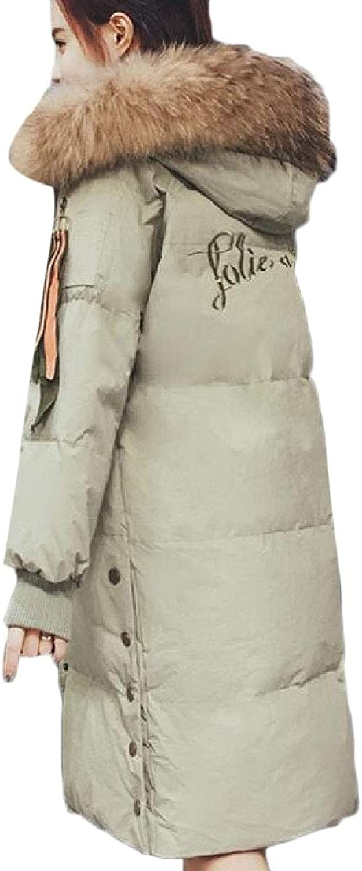 Maweisong Women's Warm Midi Puffer LongSleeve Winter Down Fur Hoodie Jackets