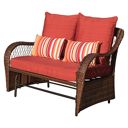 Sundale Outdoor 2 Person Wicker Loveseat Glider Bench Chair Patio Porch Swing with Rocker, Red Cushions and Striped Pillows