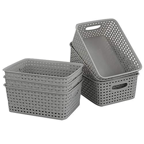 Gitany 6 Stück Grau Kunststoff-aufbewahrungskörbe, Haushaltskorb Körbchen aus Plastik, Korb Geflochten Aufbewahrung