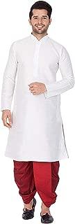 Men's Dupion Silk Dhoti Kurta Indian Party Wear Traditional Dress Silk Ethnic Dhoti Kurta Set for Wedding Party (White-Maroon, M-42 Chest Size)