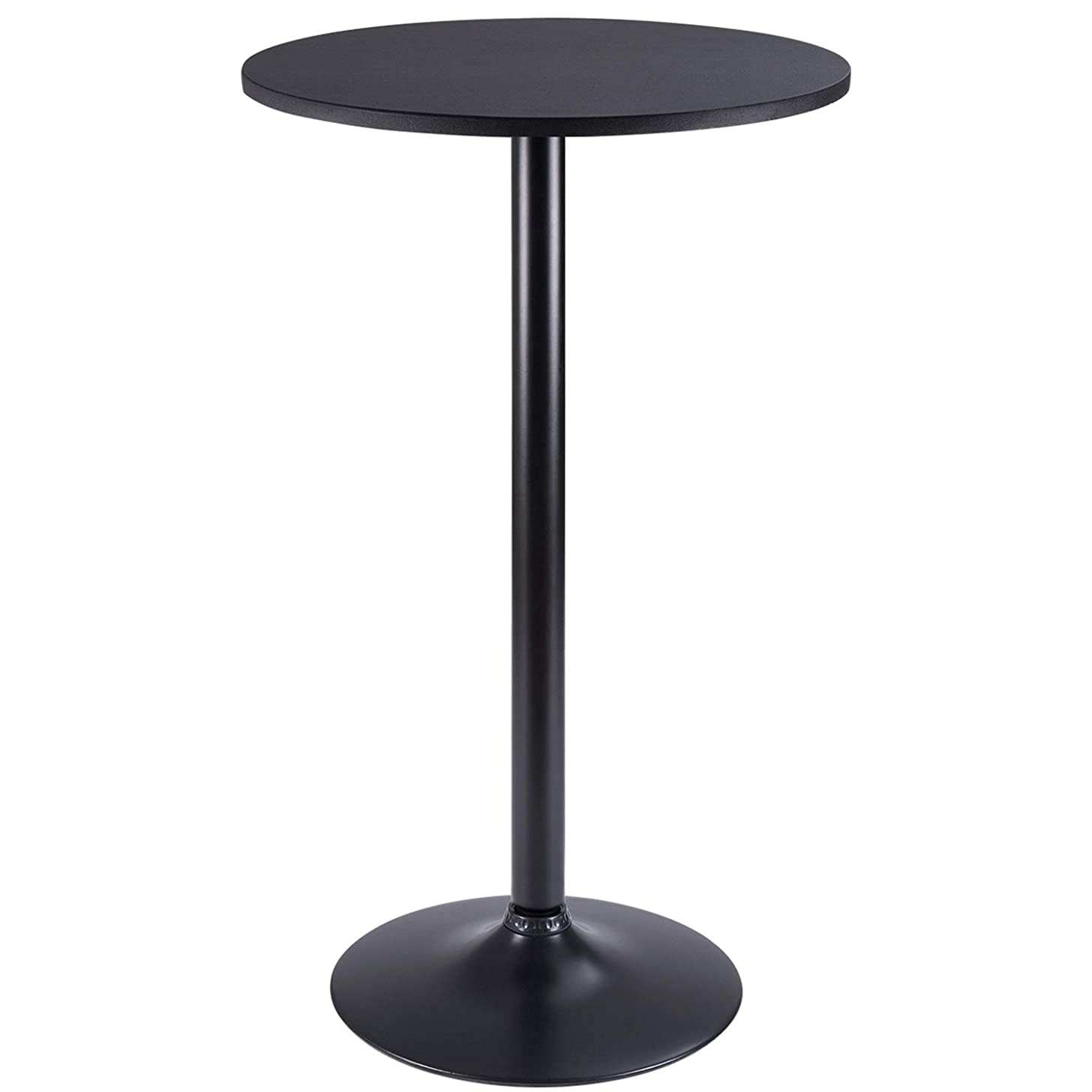 Furmax Bistro Pub Table Round Bar Height Cocktail Table Metal Base MDF Top Obsidian Table with Black Leg 23.8-Inch Top, 39.5-Inch Height(Black)