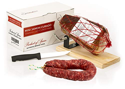 Prosciutto Crudo Serrano Spagnolo Stagionato e Disossato + Porta Prosciutto + Coltello 1 Kg (Jamon Serrano) + Salsiccia Salchichón 200 gr