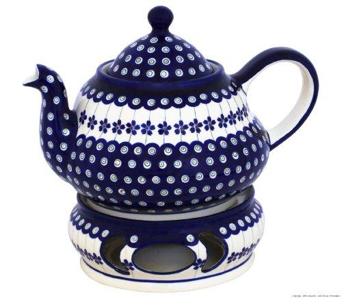 Original Bunzlauer Keramik Teekanne 1,5 Liter mit integriertem Sieb und Stövchen im Dekor 166a