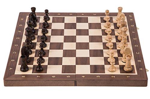 Square - Ajedrez de Madera Nº 6 - Nogal - Tablero de ajedrez + Staunton 6