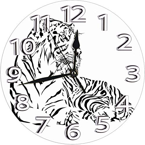 YiiHaanBuy African Wilderness Theme with Safari Animal Sitting Nobility Tattoo Art Wall Clock,Bedroom Cute Wall Clock-Non Ticking Silent Clock Art for Living Room Kitchen Bedroom—10in