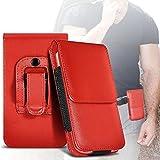 Fone-Case (Red) Archos 50 Saphir Case Brand New Luxury Faux