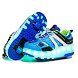 qyy USB Chargable LED Light Up Double Wheeled Roller Skate Sneaker Wheelies Shoes for Boys Girls Kids Birthday Thanksgiving Christmas Day Best GiftBlue-USA 7.5