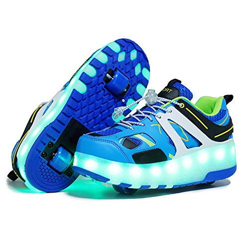 qyy USB Chargable LED Light Up Double Wheeled Roller Skate Sneaker Wheelies Shoes for Boys Girls Kids Birthday Thanksgiving Christmas Day Best GiftBlue-USA 8