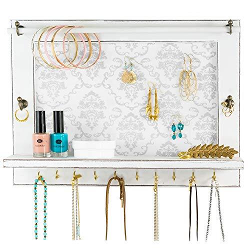 Yali Home Decor Rustic Jewelry Organizer, White Jewelry Hanger Wall, Jewelry Display, Jewelry Storage, wall mounted jewelry organizer, Jewelry Rack for Wall with Shelf.