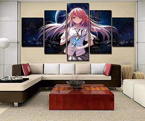 PANPAN Leinwand Malerei Wandkunst Rahmen Hauptdekoration modulares Bild 5 Stück Anime Trichter Mädchen Poster HD-Druck einzigartiges Geschenk