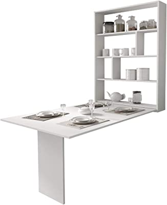 Selsey Espigo - Table Extensible - 130x80 cm, Blanc, 6 étagères - Style Moderne