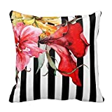 Hectwya Floral Stripes - Flora Botanica Black and White Throw Pillow Cover Cushion Case 18X18 inch