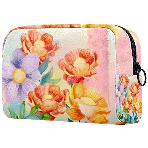Trousse de toilette portable pour femme avec brosses de maquillage personnalisées - Sac à main - Organiseur de voyage - Fleurs et os délicats