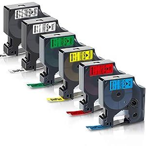 UniPlus Cinta de Etiquetas Compatible para Dymo 45013 45010 45016 45017 45018 45019 Autoadhesivas Etiquetas para Dymo LabelManager 160 LabelWriter 450 LabelManager 280 420P 400, 12mm x 7m, 6-Pack
