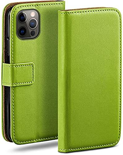 moex Klapphülle kompatibel mit iPhone 12/12 Pro Hülle klappbar, Handyhülle mit Kartenfach, 360 Grad Flip Hülle, Vegan Leder Handytasche, Grün