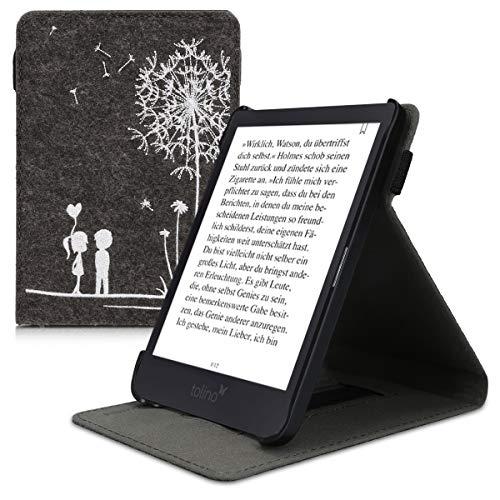 kwmobile Tolino Shine 3 Hülle - Schlaufe Ständer - e-Reader Schutzhülle für Tolino Shine 3 - Pusteblume Love Design Dunkelgrau Weiß