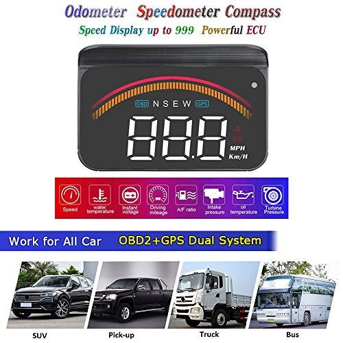 """3,5"""" Upgrade HUD OBD2 GPS Tacho Kilometerzähler Kompass Kilometerstand Diagnose Reiniger Display Höhe Flussdaten Wecker Überdrehzahl Temperatur Druck Turbine 2 Systeme Kompatibel für Alle Fahrzeuge"""