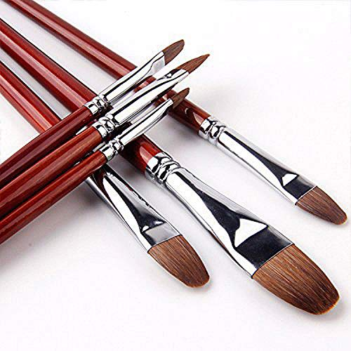 Aquarellpinsel Rotmarder Hair Katzenzungenpinsel Set für Acryl, Öl, Gouache, kreative Körperfarbe und Malerei Aquarellfarben, 6 Stück, Langer Holzgriff, Filbert Brushes