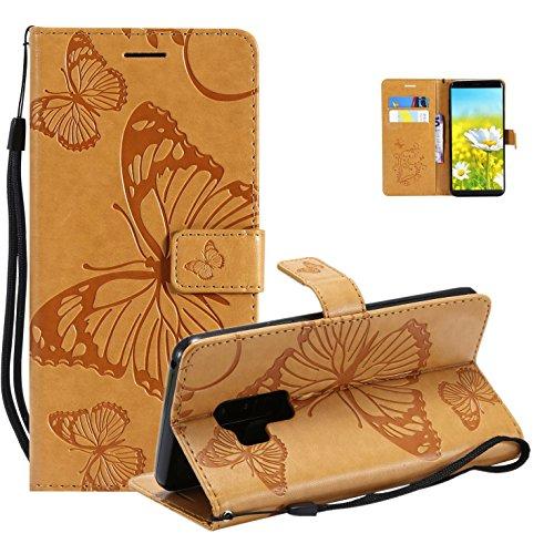 Vectady für Samsung Galaxy S9 Hülle, Handyhülle Flip Case Cover für Samsung Galaxy S9 Schutzhülle Tasche Hüllen Leder Handytasche Magnet Geldbörse Klapphülle für Samsung Galaxy S9,Hellbraun