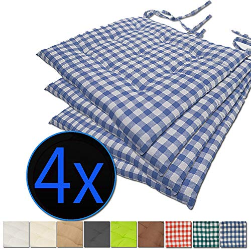 nxtbuy Stuhlkissen 4er Set 40x40 cm Blau Kariert - Gepolstertes Sitzkissen mit Bändern, für Indoor und Outdoor - in vielen Farben erhältlich