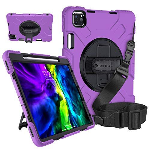GROLEOA iPad Pro 11 Case 2020/2018 with Pencil Holder Support Charging, 360 Rotating Heavy Duty Rugged Protective Shockproof Cover Stand Hand Strap Shoulder Strap for iPad Pro11 2Nd Gen Case Purple