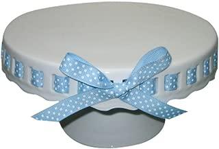 Gracie China by Coastline Imports 10-Inch Round Porcelain Skirted Cake Stand, Plain Round Pedestal White with Light Blue White Polka Dot Ribbon
