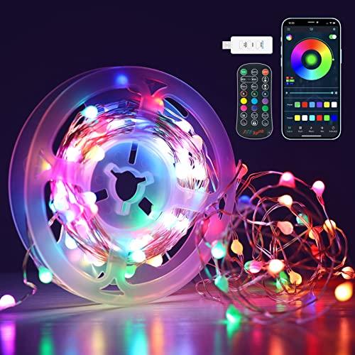 Lucine Led Decorative Colorate, Luci Natale USB 10M 100LEDs, per APP e Telecomando IR, con 16 Milioni di Colori, 47 Modalità, Musica, Timer, Spagic Luci Led Filo per Esterni, Terrazza, Giardino, IP65