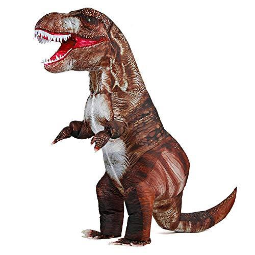 Rafalacy Lustiges aufblasbares Dinosaurier-Kostüm für Erwachsene Blow Up T-Rex Kostüm Halloween Dino Kostüm Party Dinosaurier Cosplay Outfit Verkleidung (Braun)