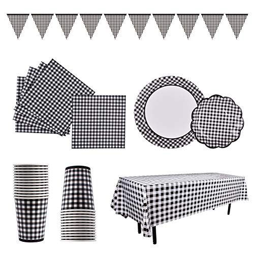 Gingham black White Checkeblack Tableware Set SERVER 25 Paper Plates Dessert Plates Cups Napkins for Luncheon Picnic Barbecue Birthday Farm Theme Party