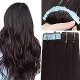 SEGO 50 cm Tape Extensions Echthaar 20 Stück 30G Klebeband Haarverlängerung Haarteile 100% Remy Human Haar Naturschwarz#1B