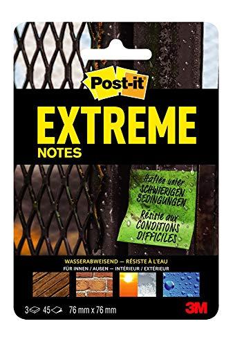 Post-it Extreme Notes Haftnotizen (76 x 76 mm) 3 Blöcke à 45 Klebezettel grün/orange/gelb
