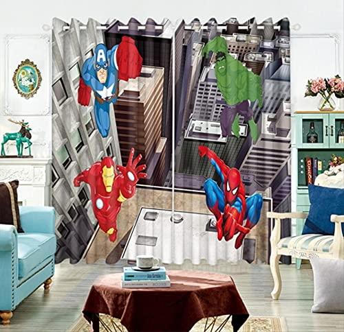 lubenwei Vengadores Capitán América Cortina Opaca Dibujos Animados Anime 3D Cortinas de Ventana Impresas Dormitorio habitación de los niños 200(H) x130(W) Cmx2 Paneles/Set (B-1204)