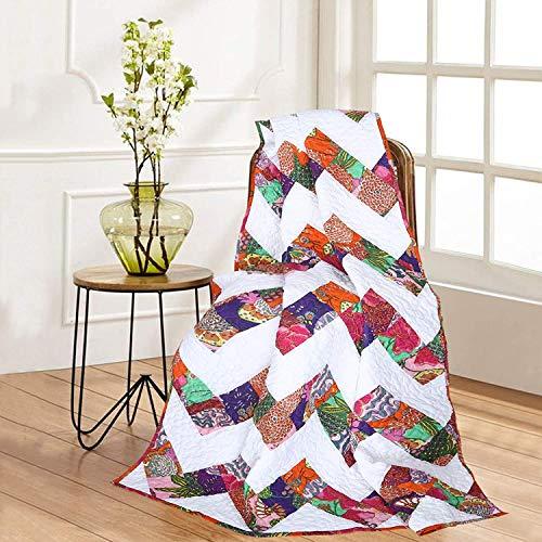 Patchwork Quilted Weiche Warme Tagesdecke Baumwolle - 127x152 cm - Mehrfarbiger Chevron - Dekorativ indische Reversibel & Licht Gewicht Vintage ethnische Patchwork Decke für Sofa & Bett