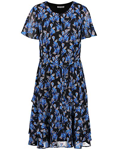 Gerry Weber Womens Kleid Gewebe Casual Dress, Schwarz/Blau Druck, Large