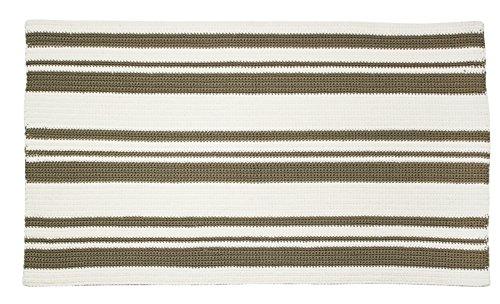 mDesign handgebreid tapijt - pluizig tapijt voor woonkamer, keuken, balkon en badkamer in trendy strependesign - kleine tapijtloper in kaki/ivoorkleurig
