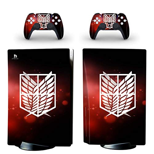 TSWEET Attack On Titan PS5 Standard Disc Skin Sticker Decal Cover for Playstation 5 Console and 2 Controllers PS5 Disk Skin Vinyl