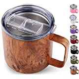Sivaphe 14 OZ Travel Coffee Mug with Large Handle Stainless Steel Insulated Tumbler Wood Grain