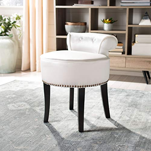 Buy Bargain Safavieh Home Collection Georgia White and Espresso Petite Vanity Stool