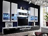 KRYSPOL Wohnwand ALFA II Anbauwand, Wohnzimmer-Set, Modern Design (Weiß/Weiß Hochglanz + Schwarz Hochglanz Hochglanz)